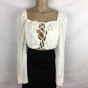 Nasty Gal Ivory Cropped Front Tie Peasant Top